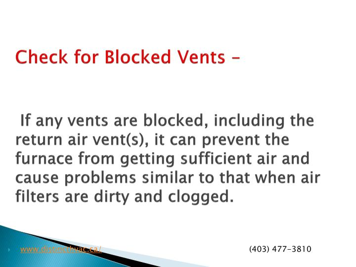 Check for Blocked Vents