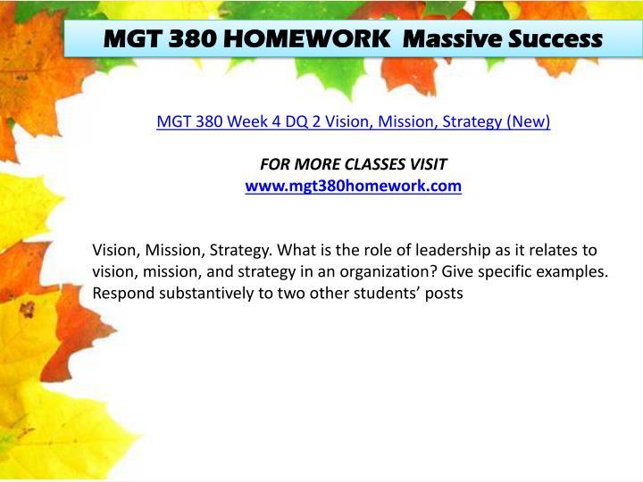 MGT 380 HOMEWORK  Massive Success