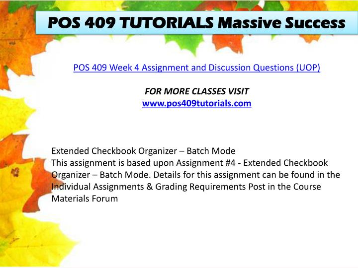 POS 409 TUTORIALS Massive Success