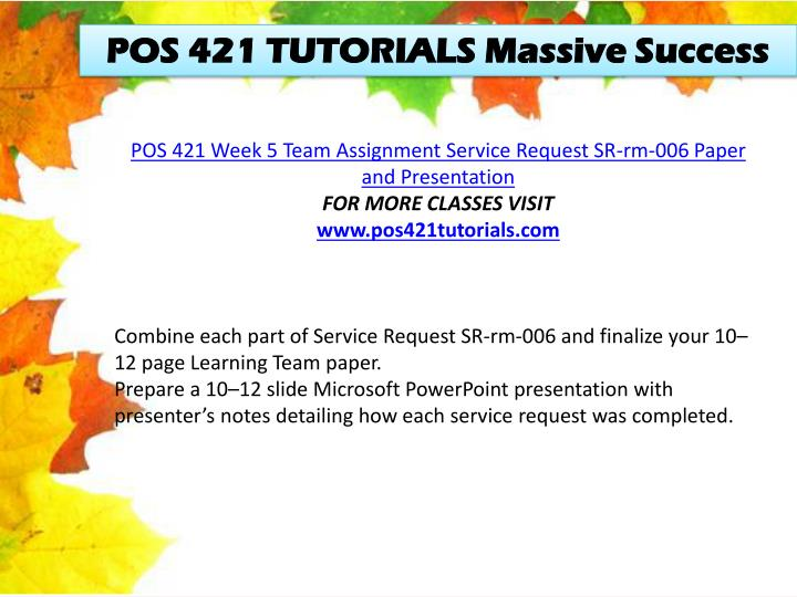 POS 421 TUTORIALS Massive Success