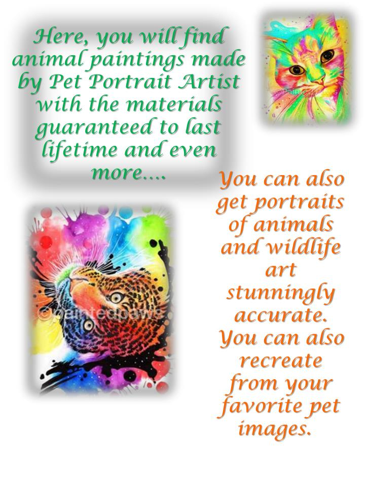 Here, you will find animal paintings made by Pet Portrait Artist  with the materials guaranteed to last lifetime and even more….