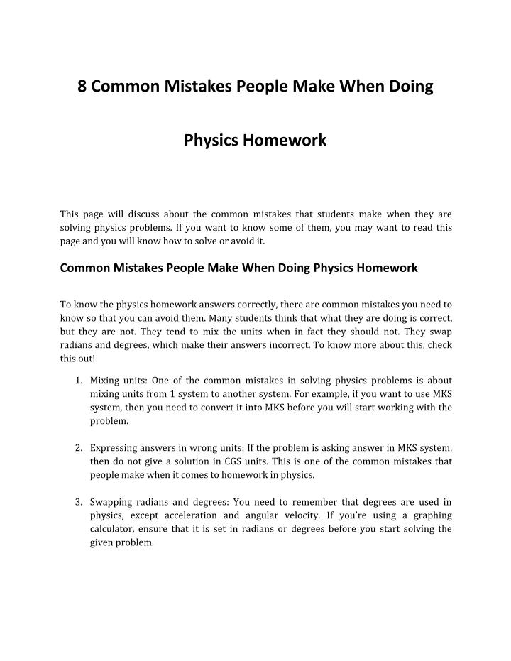 8 Common Mistakes People Make When Doing