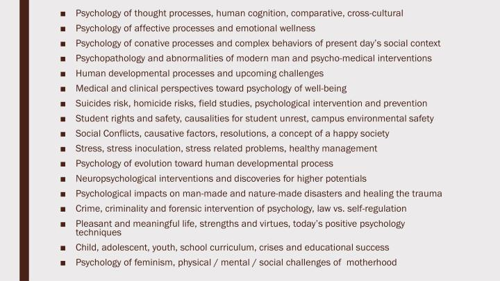 Psychology of thought processes, human cognition, comparative, cross-cultural