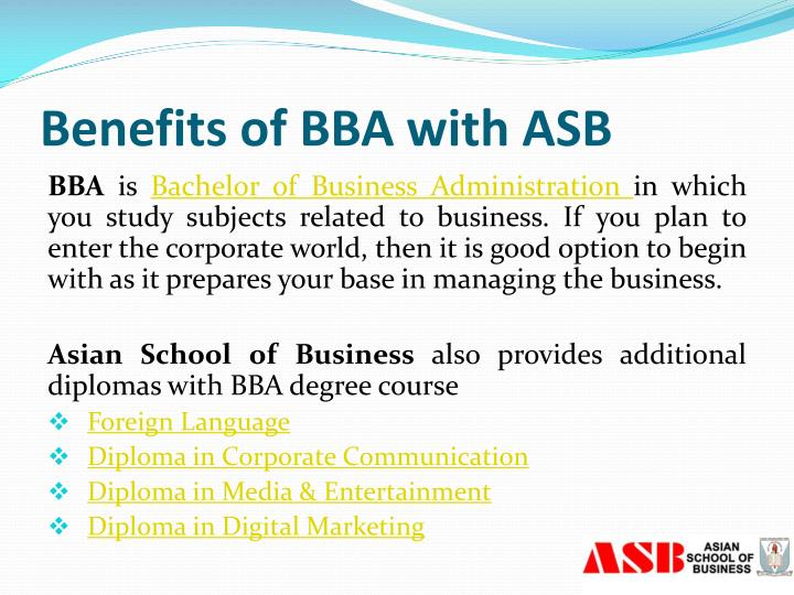 Benefits of BBA with ASB