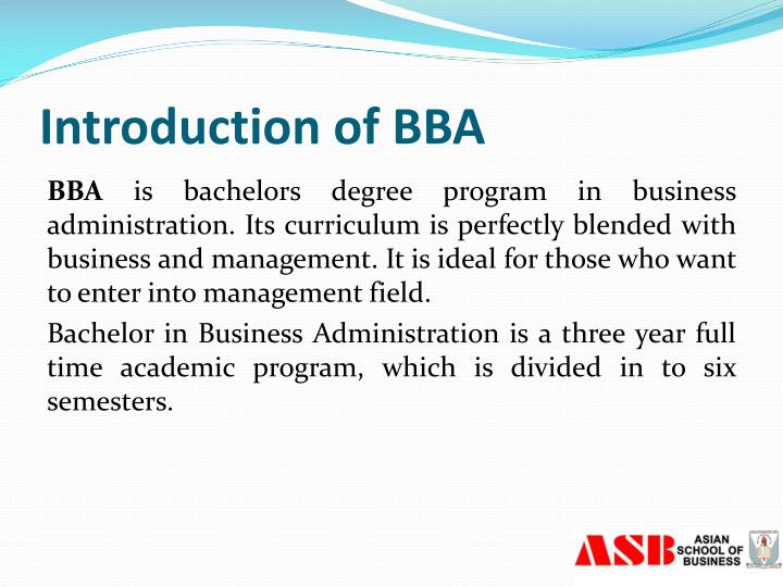 Introduction of BBA