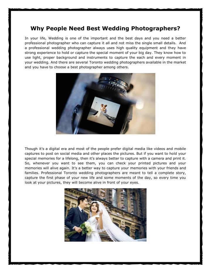 Why People Need Best Wedding Photographers?