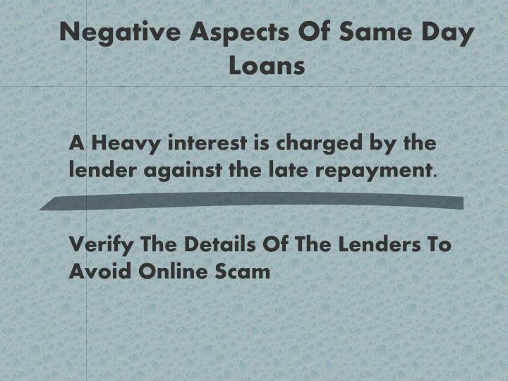 Negative Aspects Of Same Day Loans