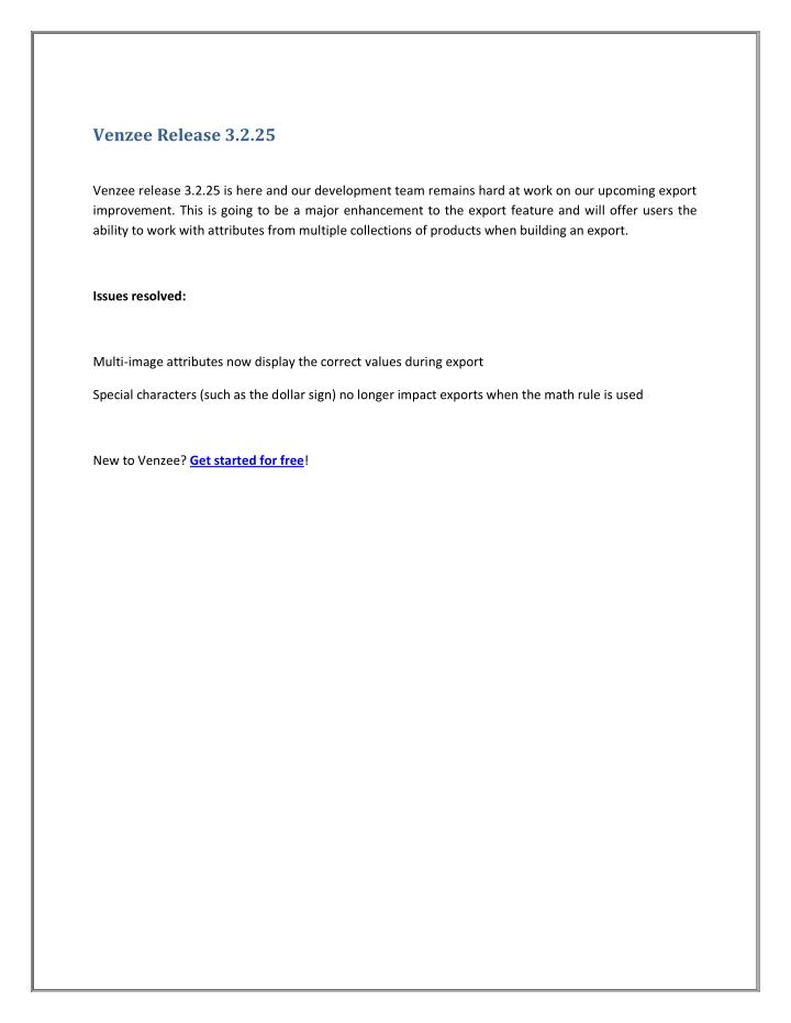Venzee Release 3.2.25
