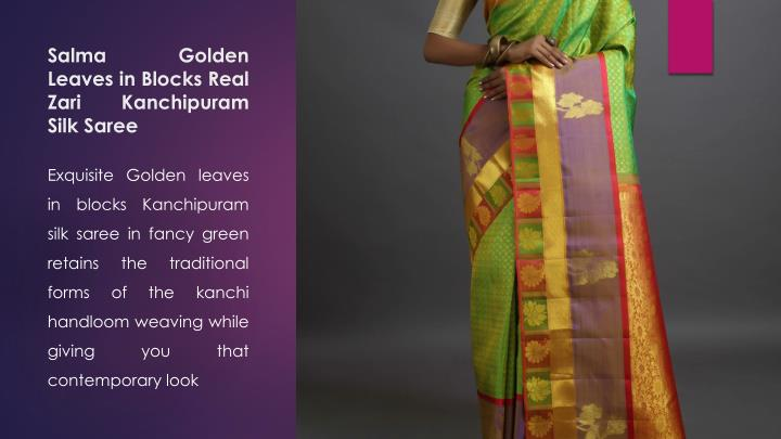 Salma Golden Leaves in Blocks Real Zari Kanchipuram Silk Saree