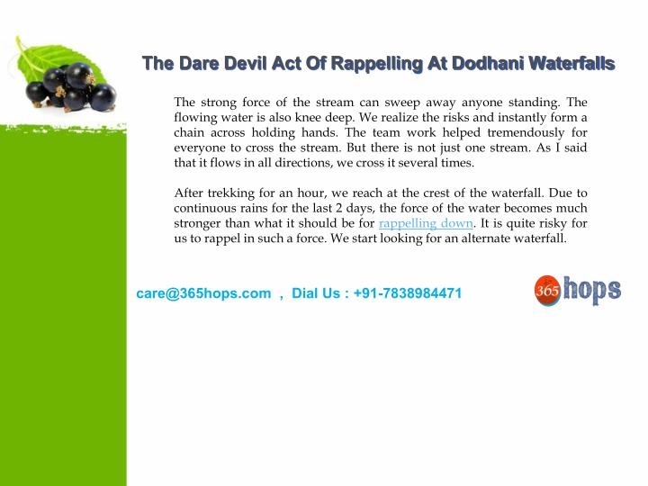 The Dare Devil Act Of Rappelling At Dodhani Waterfalls