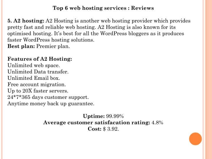 Top 6 web hosting services : Reviews