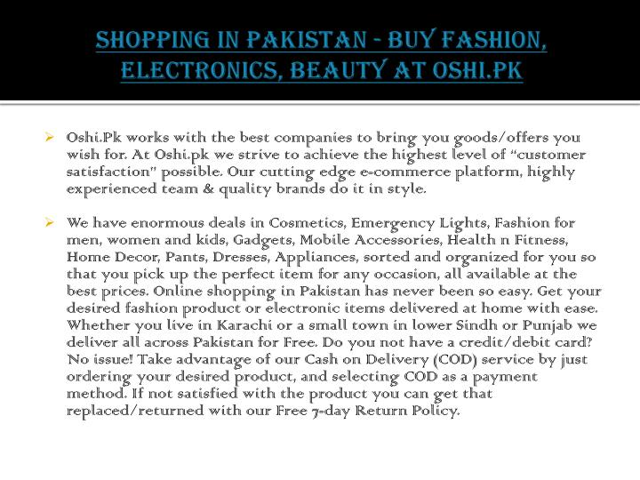 Shopping in pakistan buy fashion electronics beauty at oshi pk