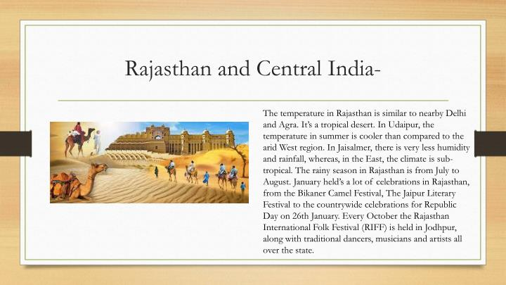 Rajasthan and Central India-
