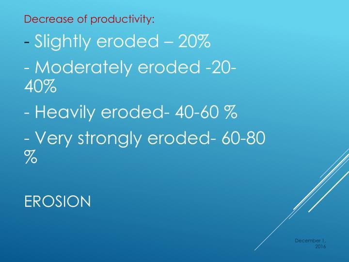 Decrease of productivity: