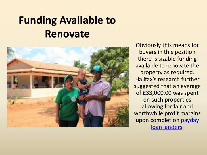 Funding Available to Renovate