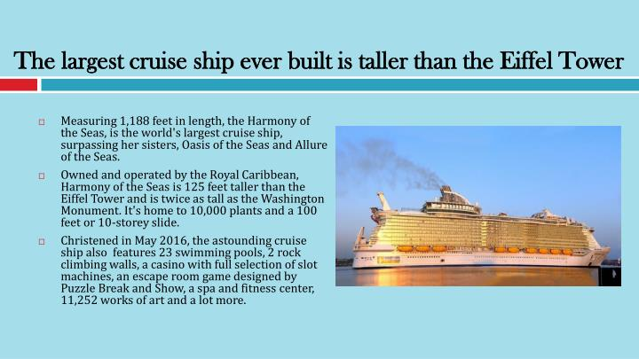 The largest cruise ship ever built is taller than the Eiffel Tower