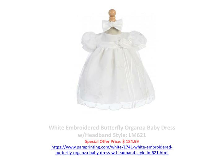 White Embroidered Butterfly Organza Baby Dress w/Headband Style: LM621