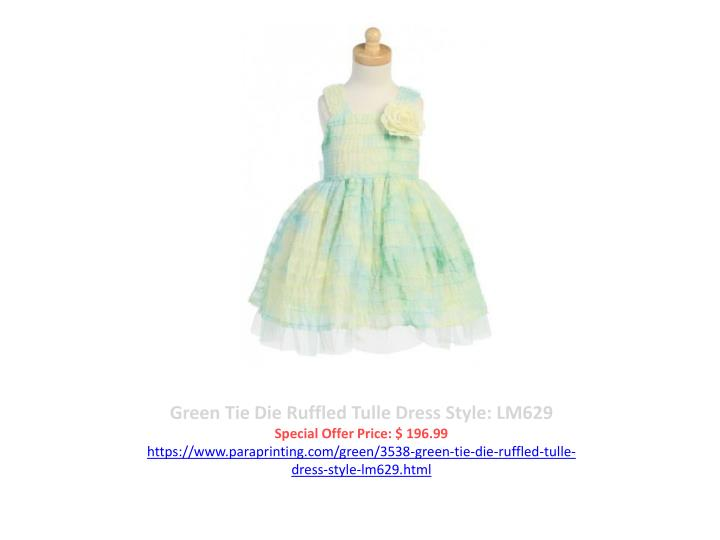 Green Tie Die Ruffled Tulle Dress Style: LM629
