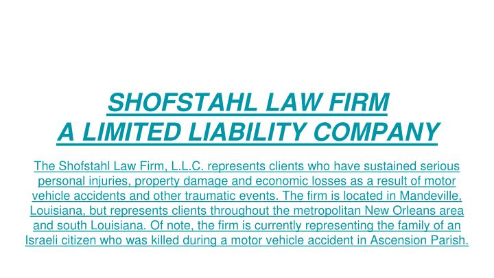 Shofstahl law firm a limited liability company