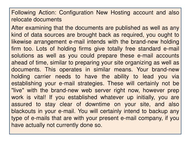 Following Action: Configuration New Hosting account and also relocate documents