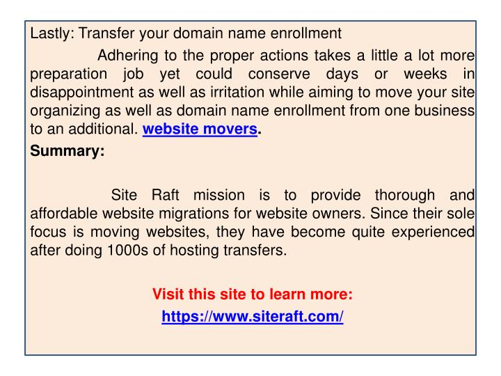 Lastly: Transfer your domain name enrollment