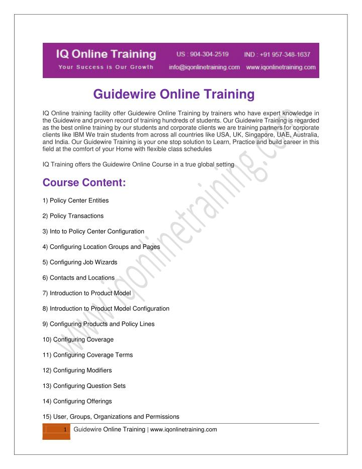 Guidewire Online Training