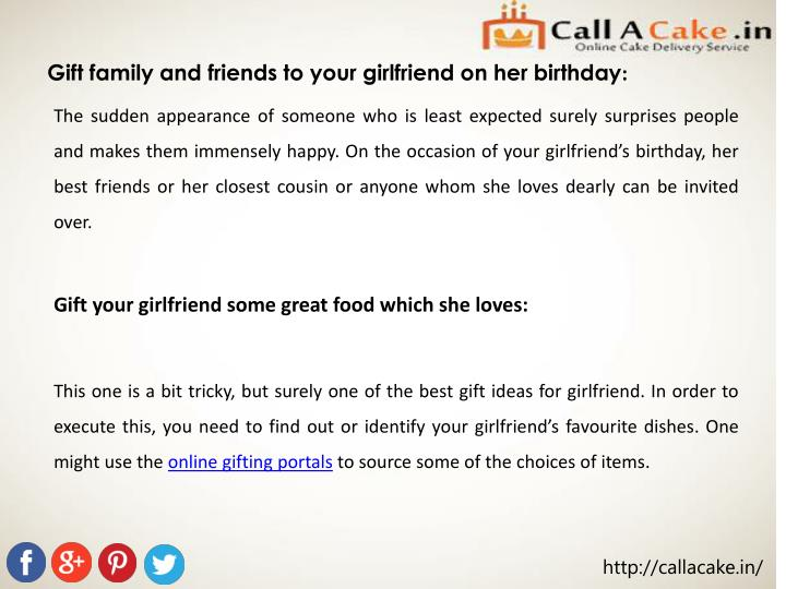 Gift family and friends to your girlfriend on her birthday