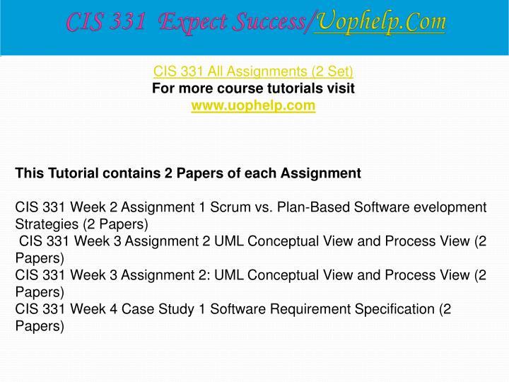 CIS 331  Expect Success/