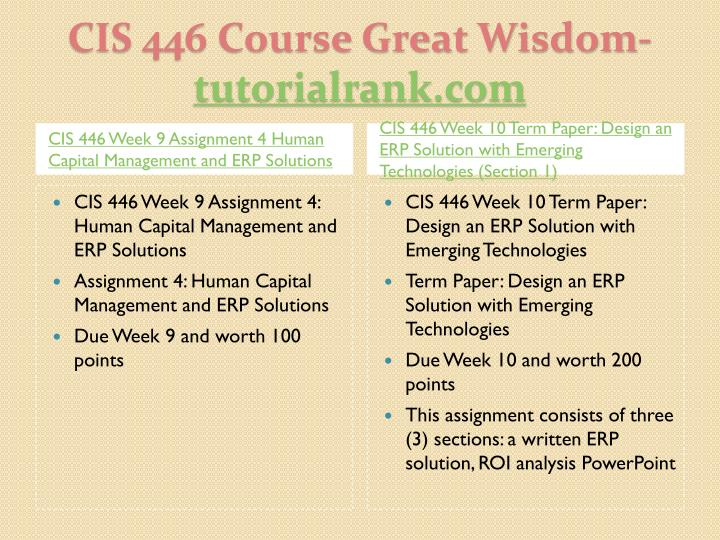 CIS 446 Week 9 Assignment 4 Human Capital Management and ERP Solutions