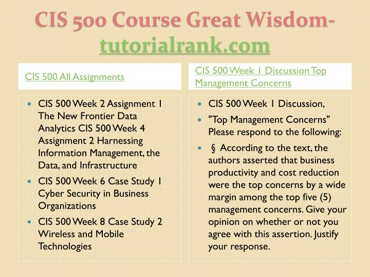 Cis 500 course great wisdom tutorialrank com1