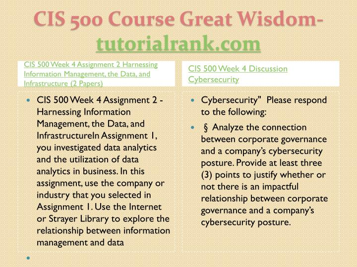 CIS 500 Week 4 Assignment 2 Harnessing Information Management, the Data, and Infrastructure (2 Papers)