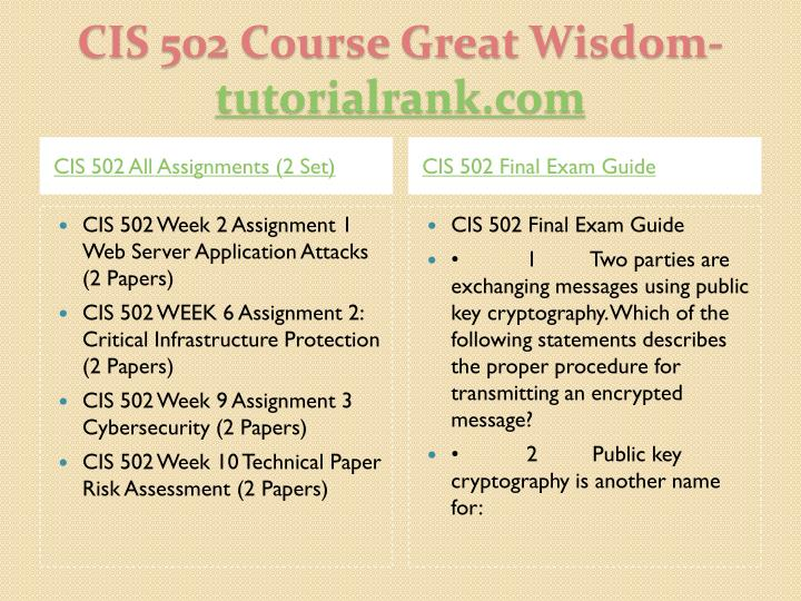 CIS 502 All Assignments (2 Set)