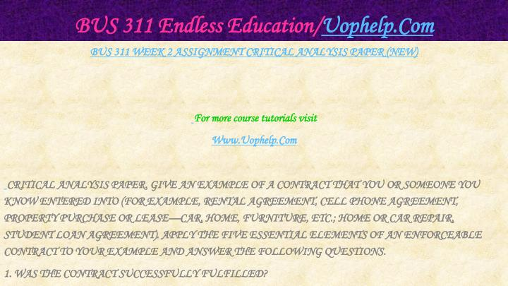 BUS 311 Endless Education/