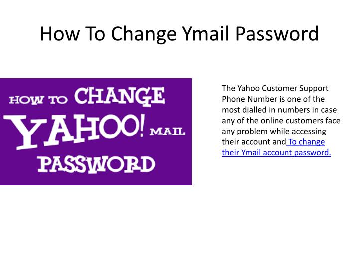 how to change ymail password