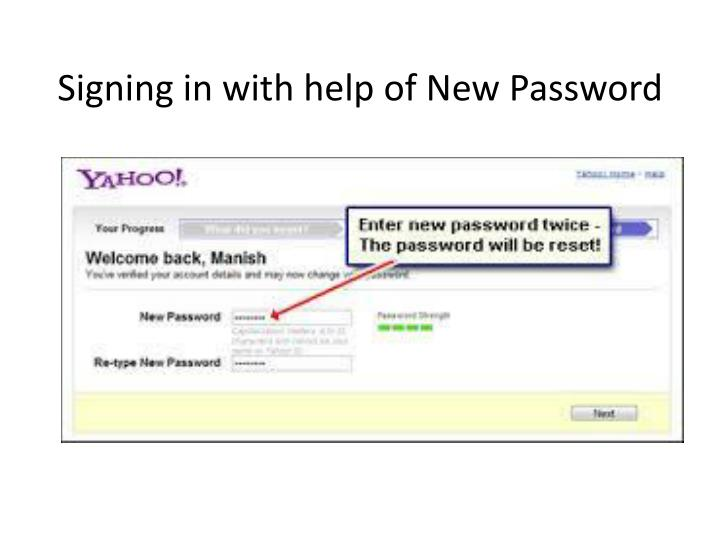 Signing in with help of New Password