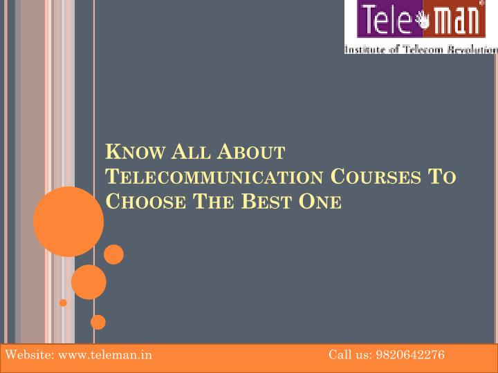 Know all about telecommunication courses to choose the best one