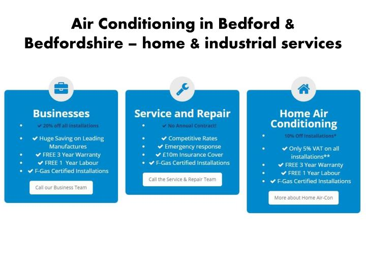 Air Conditioning in Bedford & Bedfordshire – home & industrial services