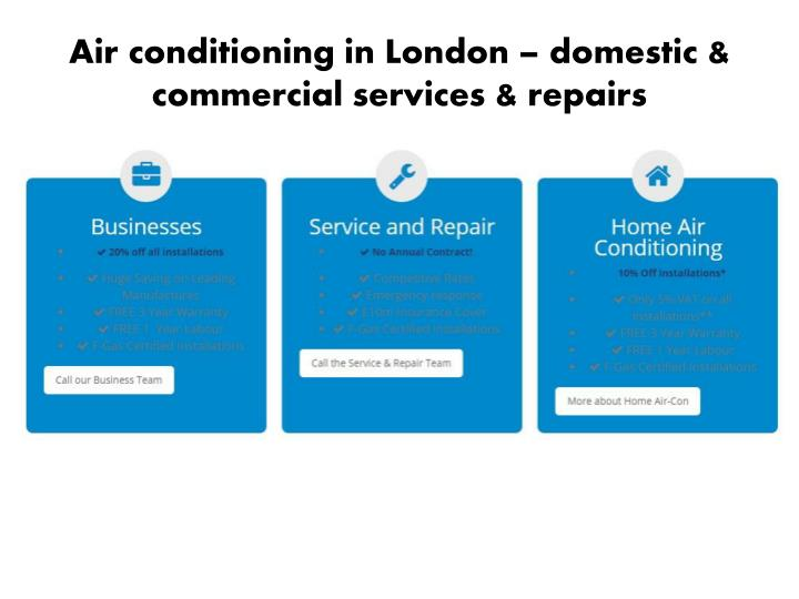 Air conditioning in London – domestic & commercial services & repairs