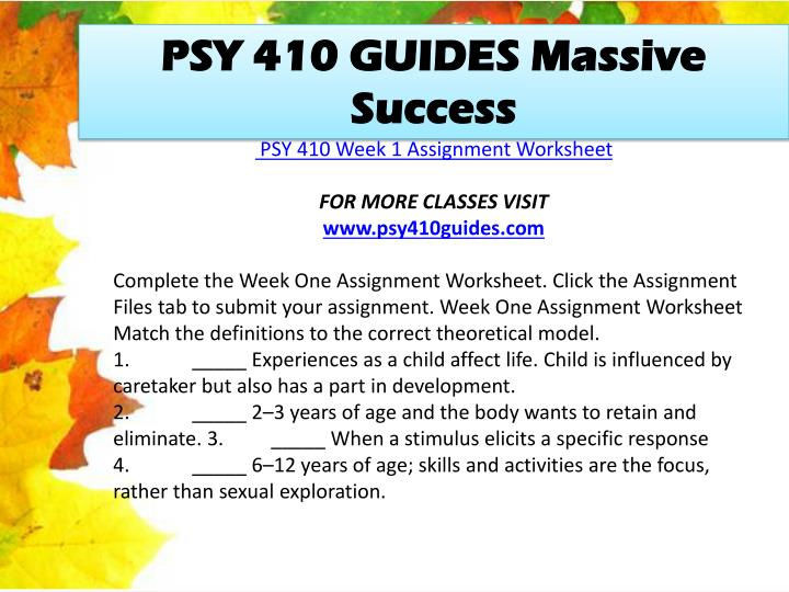 PSY 410 GUIDES Massive Success