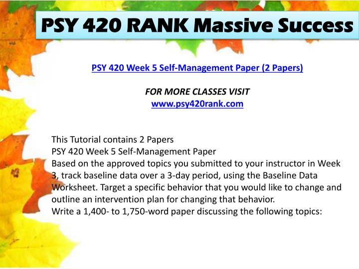PSY 420 RANK Massive Success