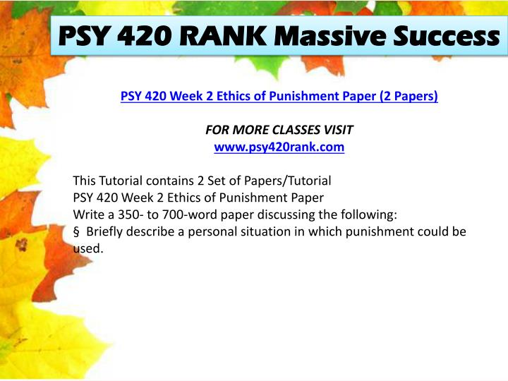 PSY 420 RANK Massive Success