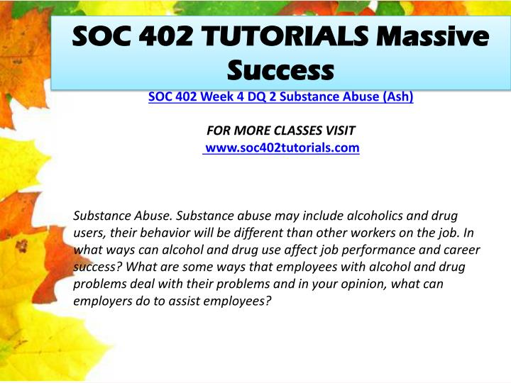 SOC 402 TUTORIALS Massive Success