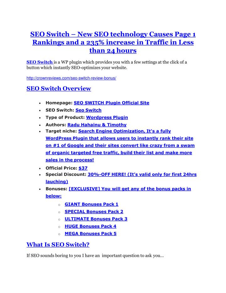 SEO Switch – New SEO technology Causes Page