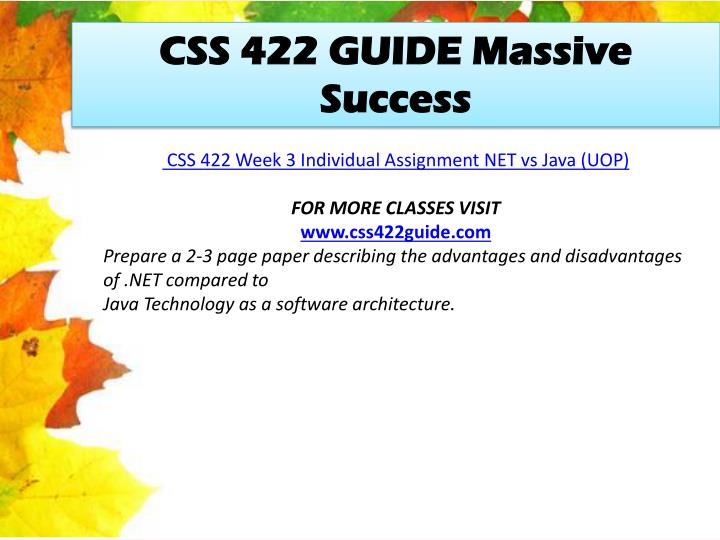 CSS 422 GUIDE Massive Success