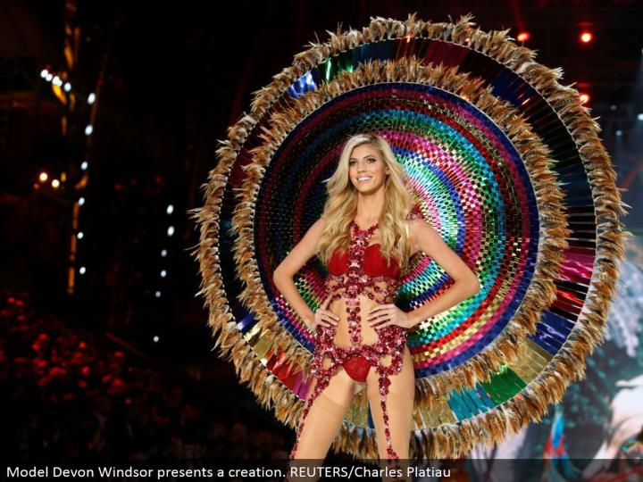 Model Devon Windsor shows a creation. REUTERS/Charles Platiau