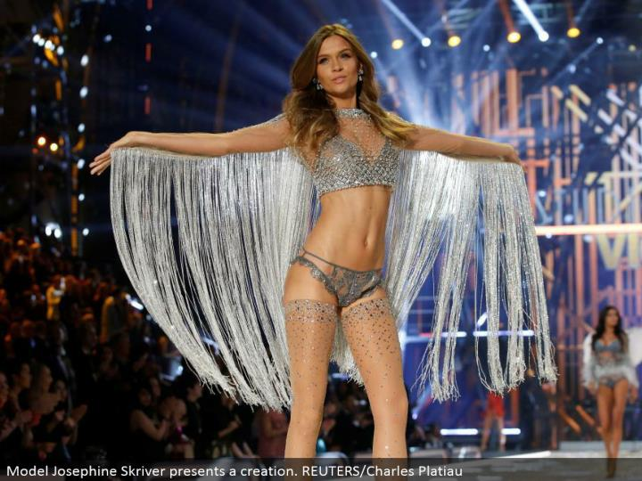 Model Josephine Skriver presents a creation. REUTERS/Charles Platiau