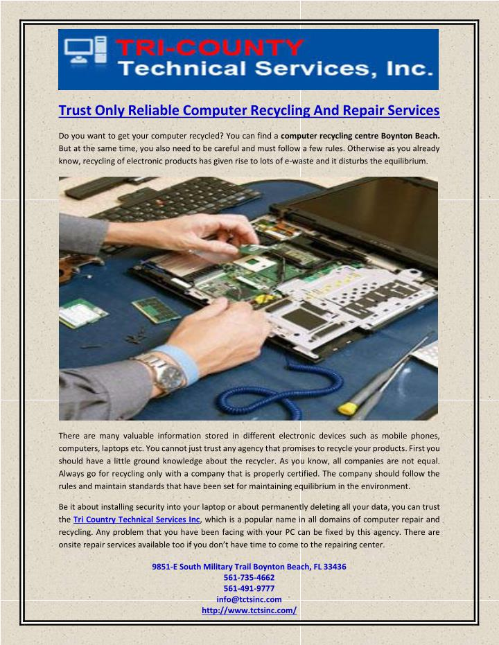 Trust Only Reliable Computer Recycling And Repair Services