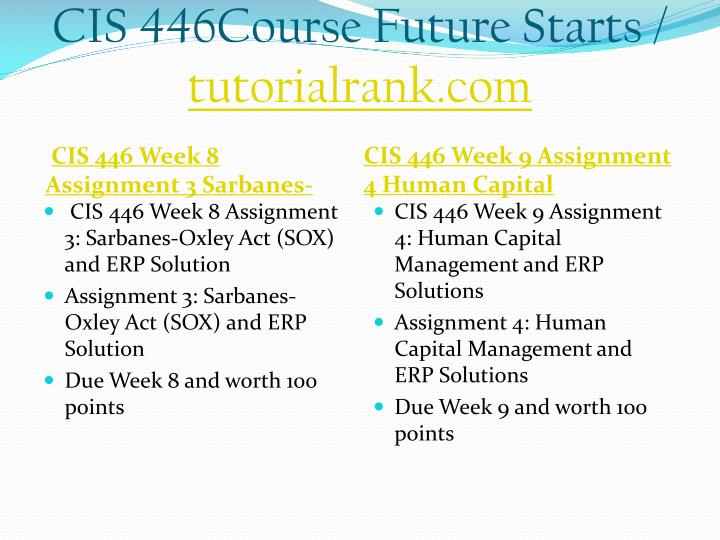 CIS 446Course Future Starts /