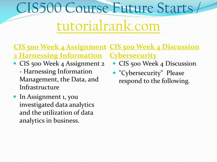 CIS500 Course Future Starts /