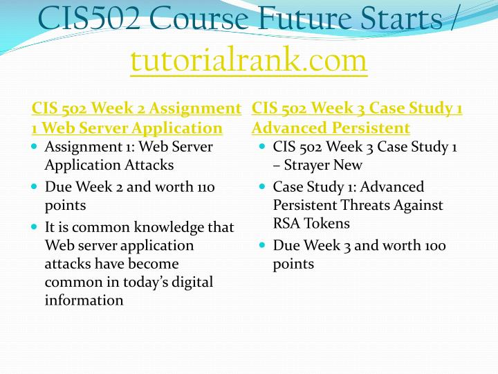 CIS502 Course Future Starts /